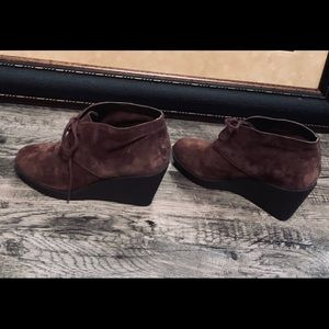 Cole Haan Brown Suede Wedge Ankle Booties Size 7